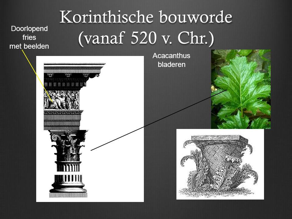 Korinthische bouworde (vanaf 520 v. Chr.) Acacanthus bladeren Doorlopend fries met beelden
