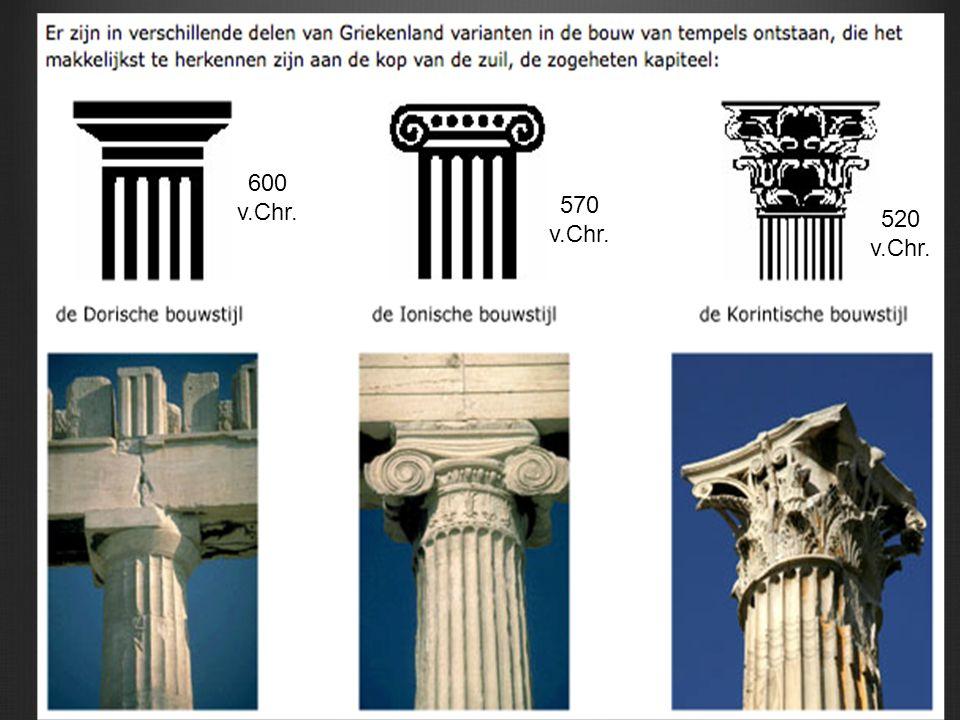 Romeinse tempelbouw Nadruk op voorkant (trap) Niet rondom benaderbaar (halfzuilen)