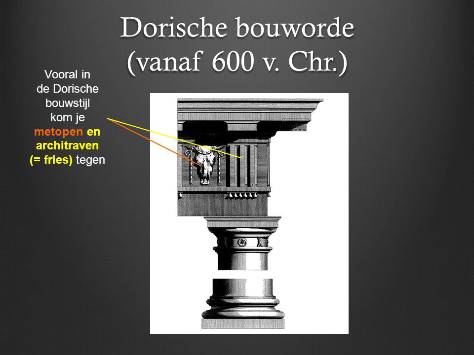 Dorische bouworde (vanaf 600 v. Chr.) Vooral in de Dorische bouwstijl kom je metopen en architraven (= fries) tegen