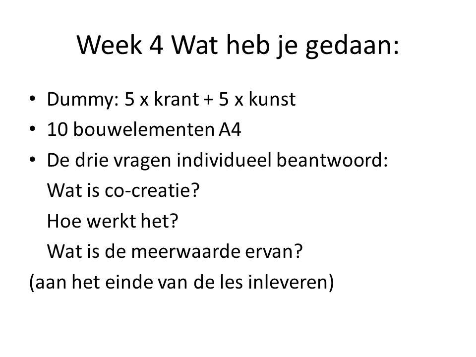 Week 4 Wat heb je gedaan: Dummy: 5 x krant + 5 x kunst 10 bouwelementen A4 De drie vragen individueel beantwoord: Wat is co-creatie? Hoe werkt het? Wa