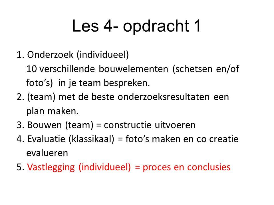 Les 4- opdracht 1 1. Onderzoek (individueel) 10 verschillende bouwelementen (schetsen en/of foto's) in je team bespreken. 2. (team) met de beste onder