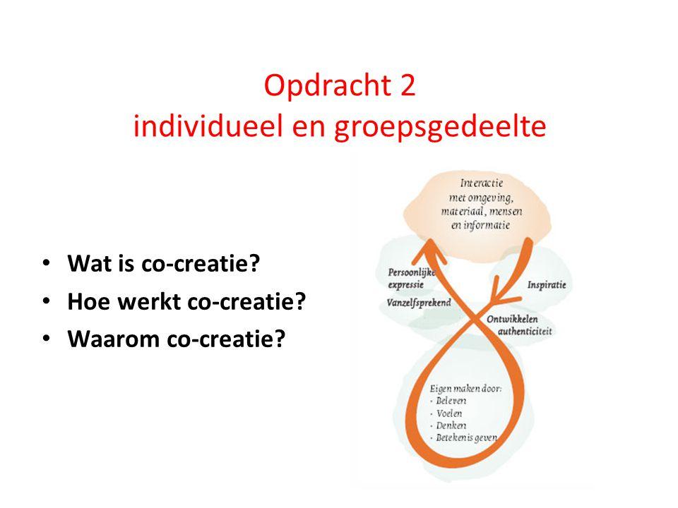 Opdracht 2 individueel en groepsgedeelte Wat is co-creatie? Hoe werkt co-creatie? Waarom co-creatie?
