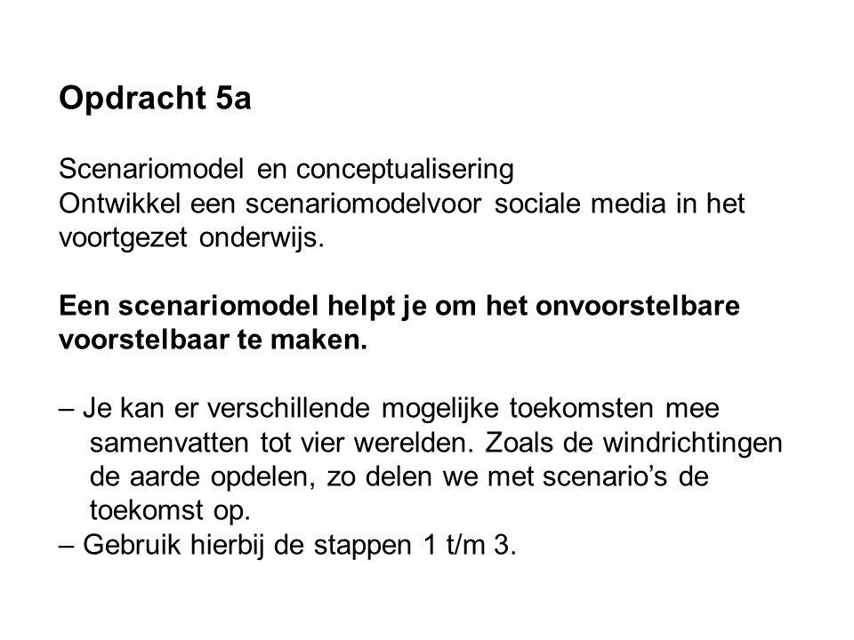 Opdracht 5a Scenariomodel en conceptualisering Ontwikkel een scenariomodelvoor sociale media in het voortgezet onderwijs. Een scenariomodel helpt je o