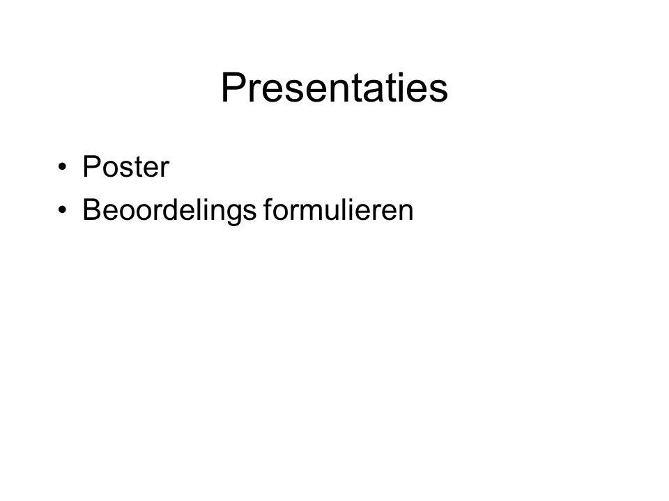 Presentaties Poster Beoordelings formulieren