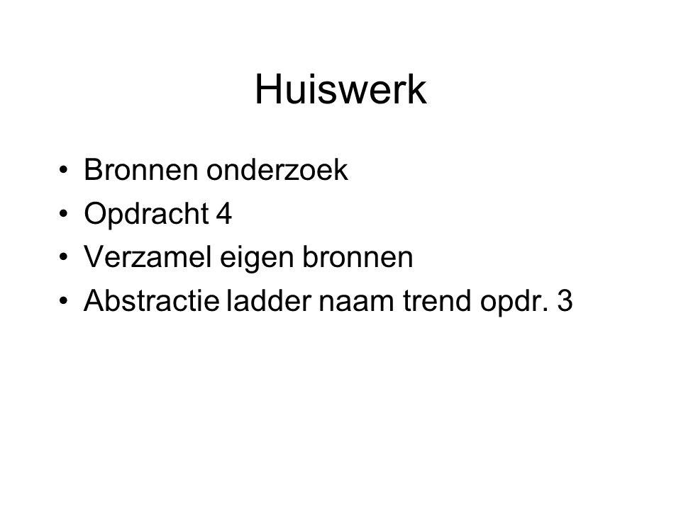 Huiswerk Bronnen onderzoek Opdracht 4 Verzamel eigen bronnen Abstractie ladder naam trend opdr. 3