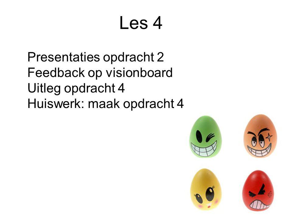Les 4 Presentaties opdracht 2 Feedback op visionboard Uitleg opdracht 4 Huiswerk: maak opdracht 4