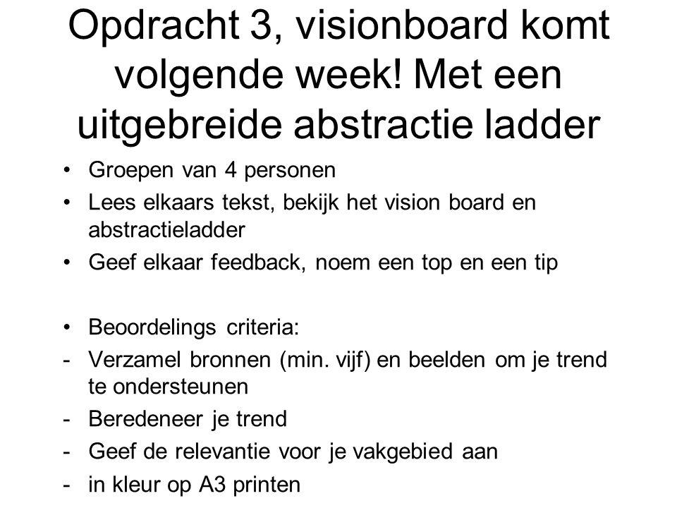 Opdracht 3, visionboard komt volgende week.