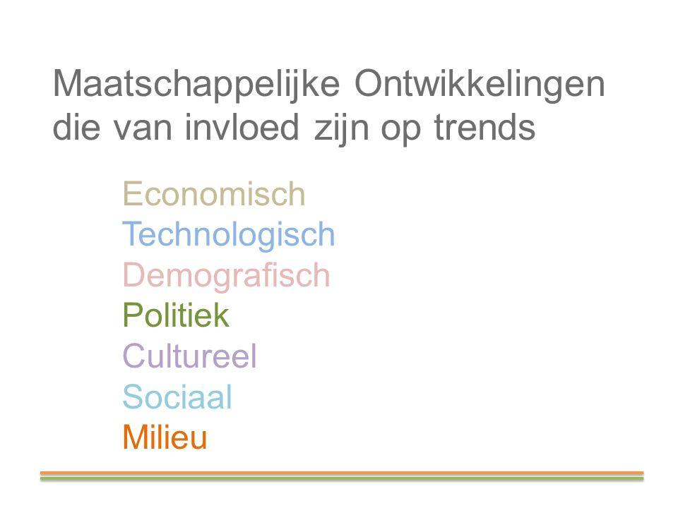 Maatschappelijke Ontwikkelingen die van invloed zijn op trends Economisch Technologisch Demografisch Politiek Cultureel Sociaal Milieu