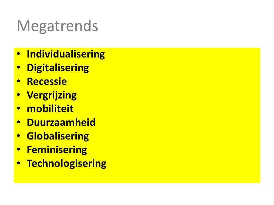 Megatrends Individualisering Digitalisering Recessie Vergrijzing mobiliteit Duurzaamheid Globalisering Feminisering Technologisering
