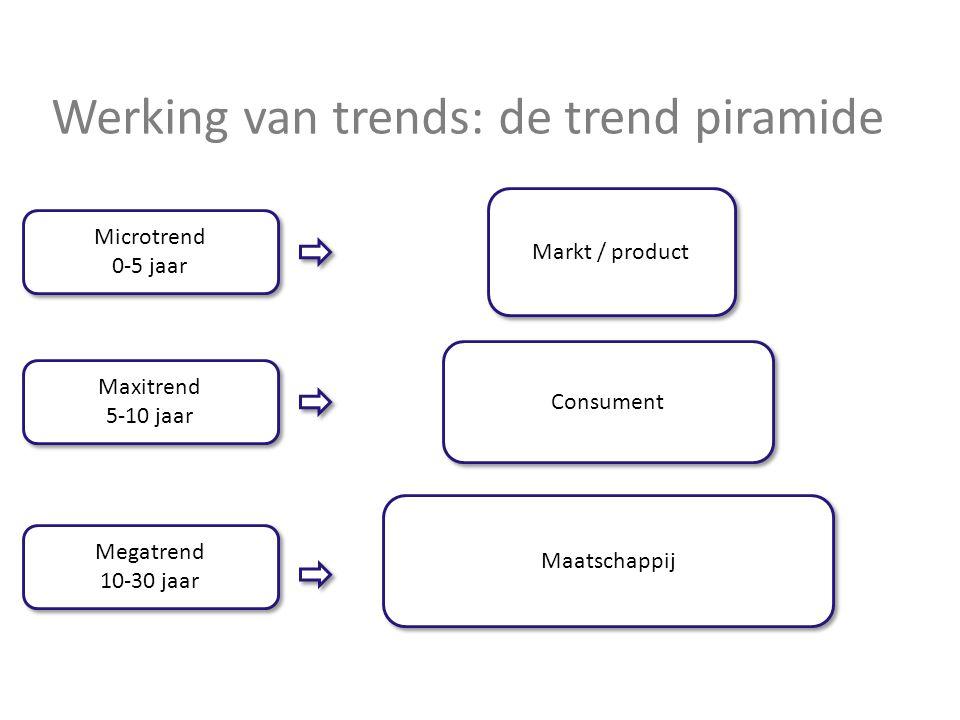 Werking van trends: de trend piramide Maatschappij Consument Markt / product Megatrend 10-30 jaar Megatrend 10-30 jaar Maxitrend 5-10 jaar Maxitrend 5