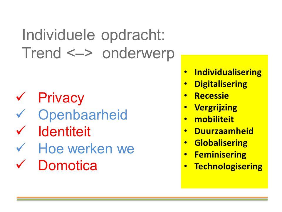 Individuele opdracht: Trend onderwerp Privacy Openbaarheid Identiteit Hoe werken we Domotica Individualisering Digitalisering Recessie Vergrijzing mob