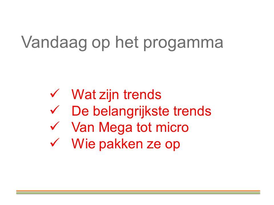 Vandaag op het progamma Wat zijn trends De belangrijkste trends Van Mega tot micro Wie pakken ze op