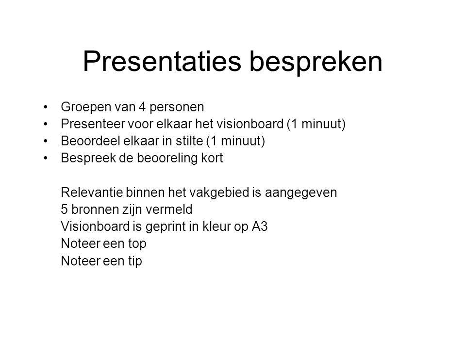 Presentaties bespreken Groepen van 4 personen Presenteer voor elkaar het visionboard (1 minuut) Beoordeel elkaar in stilte (1 minuut) Bespreek de beoo