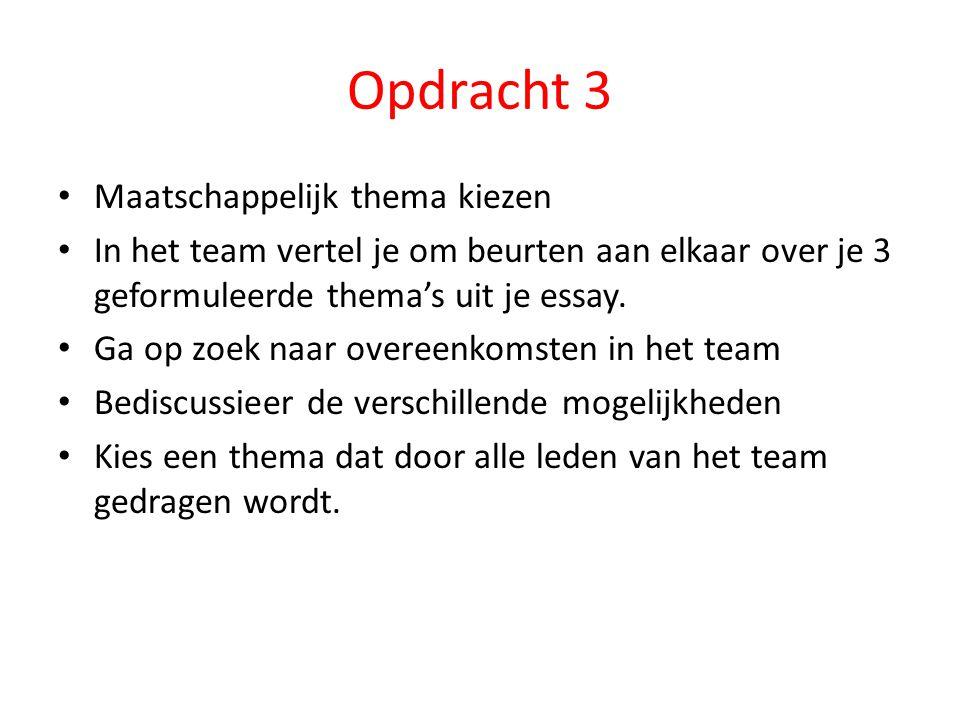 Opdracht 3 Maatschappelijk thema kiezen In het team vertel je om beurten aan elkaar over je 3 geformuleerde thema's uit je essay.