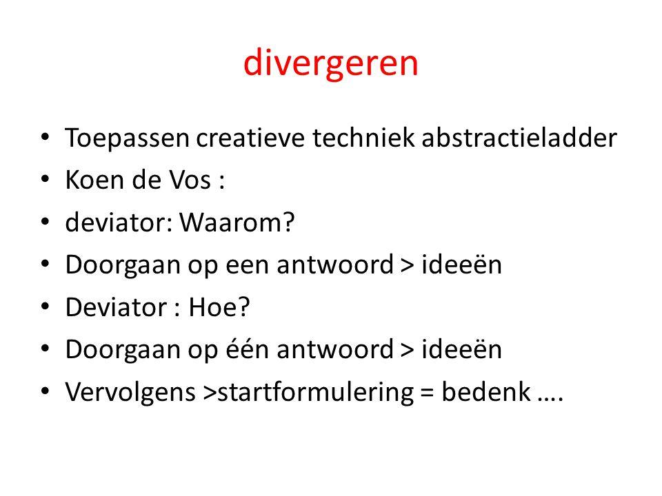 divergeren Toepassen creatieve techniek abstractieladder Koen de Vos : deviator: Waarom.