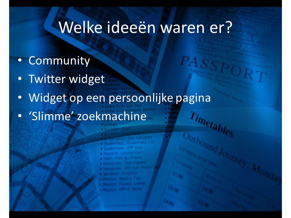 Welke ideeën waren er? Community Twitter widget Widget op een persoonlijke pagina 'Slimme' zoekmachine