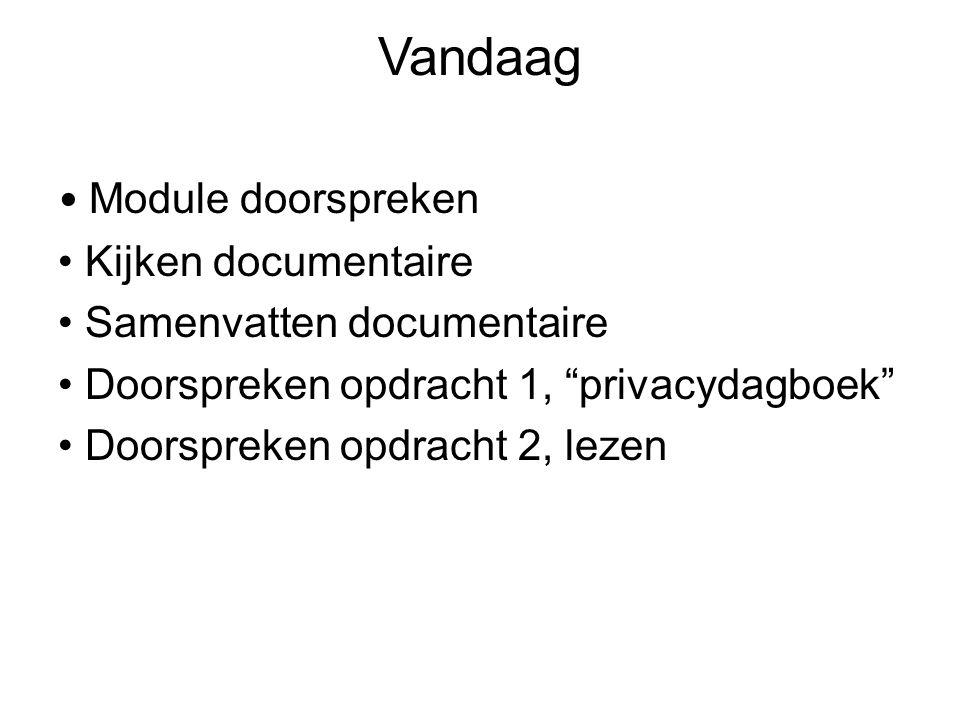 Vandaag Module doorspreken Kijken documentaire Samenvatten documentaire Doorspreken opdracht 1, privacydagboek Doorspreken opdracht 2, lezen