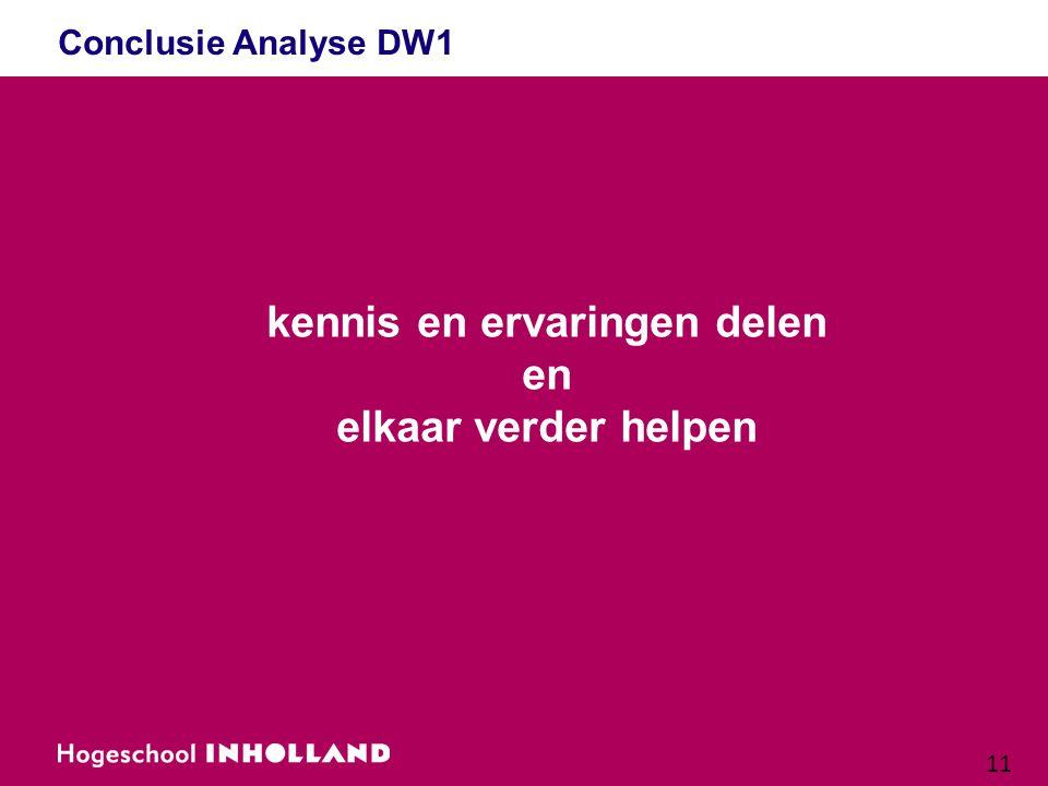 11 Conclusie Analyse DW1 kennis en ervaringen delen en elkaar verder helpen