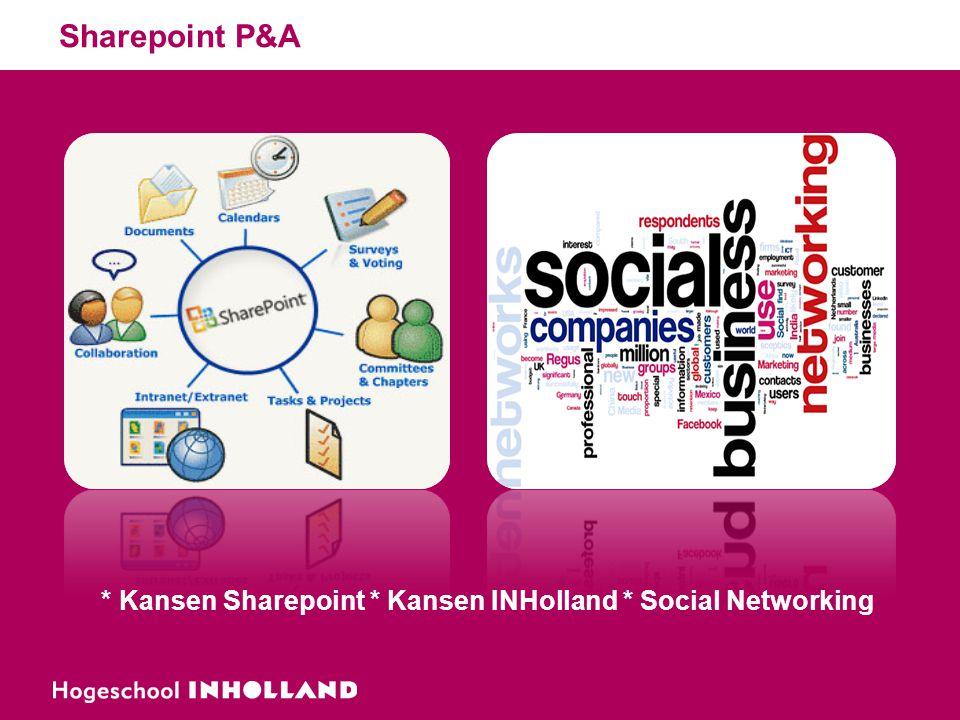 Sharepoint P&A * Kansen Sharepoint * Kansen INHolland * Social Networking
