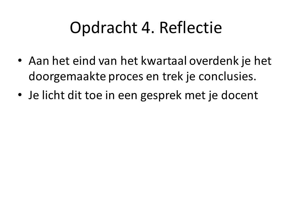 Opdracht 4. Reflectie Aan het eind van het kwartaal overdenk je het doorgemaakte proces en trek je conclusies. Je licht dit toe in een gesprek met je