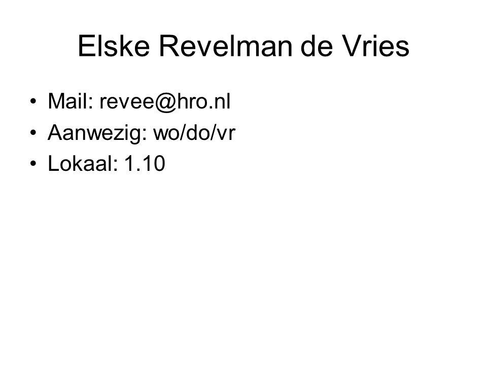 Elske Revelman de Vries Mail: revee@hro.nl Aanwezig: wo/do/vr Lokaal: 1.10