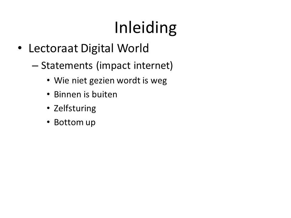Inleiding Lectoraat Digital World – Statements (impact internet) Wie niet gezien wordt is weg Binnen is buiten Zelfsturing Bottom up