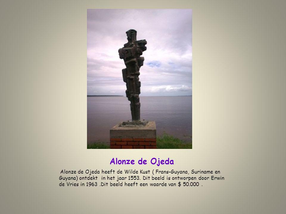 Alonze de Ojeda Alonze de Ojeda heeft de Wilde Kust ( Frans-Guyana, Suriname en Guyana) ontdekt in het jaar 1553. Dit beeld is ontworpen door Erwin de