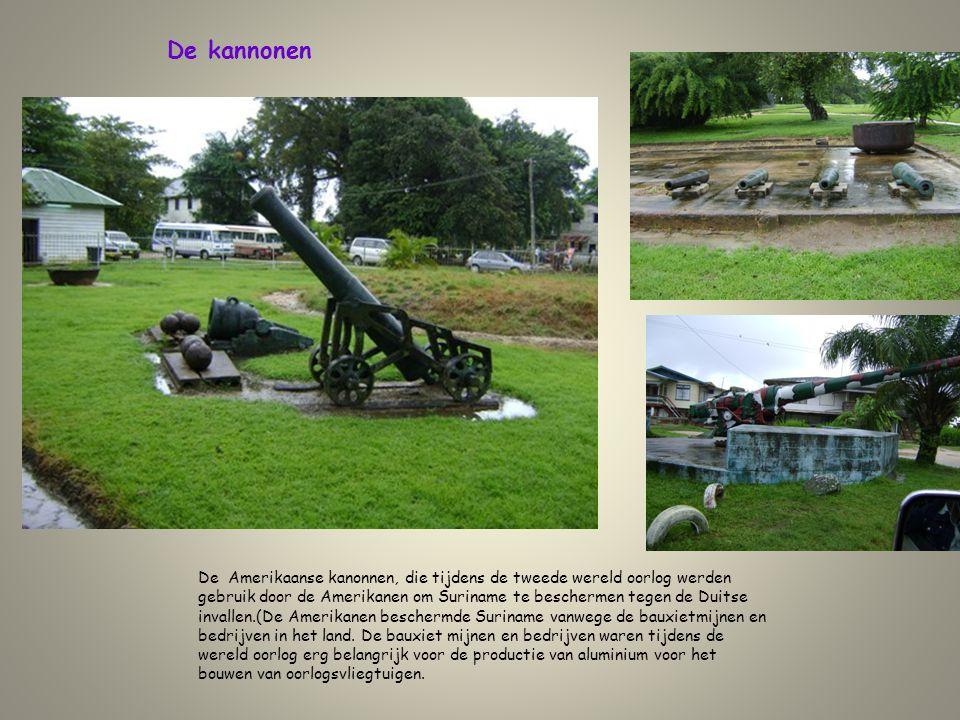 De kannonen De Amerikaanse kanonnen, die tijdens de tweede wereld oorlog werden gebruik door de Amerikanen om Suriname te beschermen tegen de Duitse i