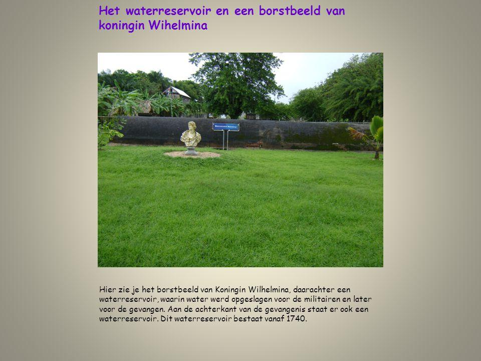 Het waterreservoir en een borstbeeld van koningin Wihelmina Hier zie je het borstbeeld van Koningin Wilhelmina, daarachter een waterreservoir, waarin