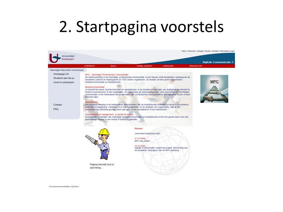 2. Startpagina voorstels