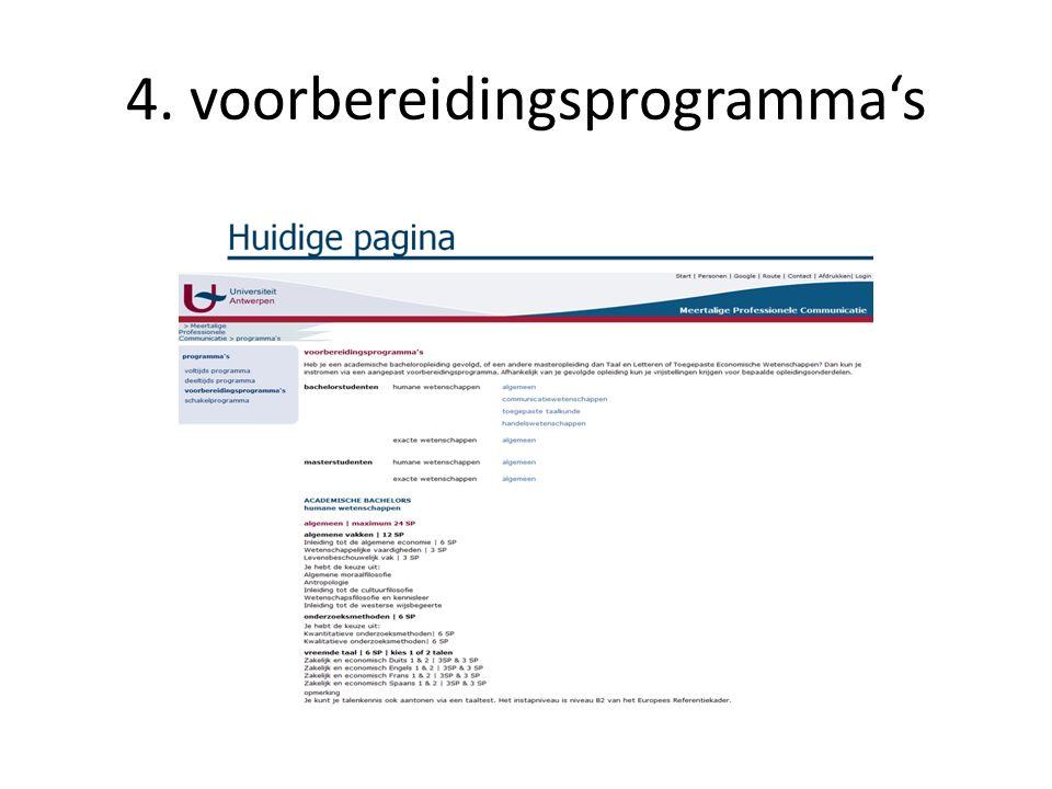 4. voorbereidingsprogramma's