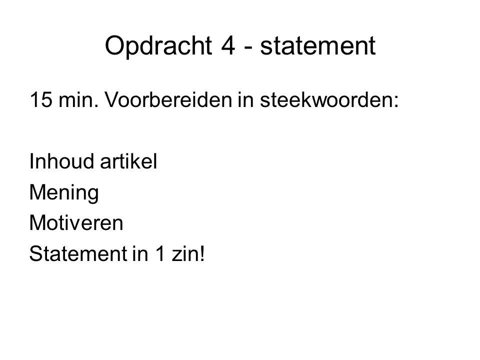 Opdracht 4 - statement