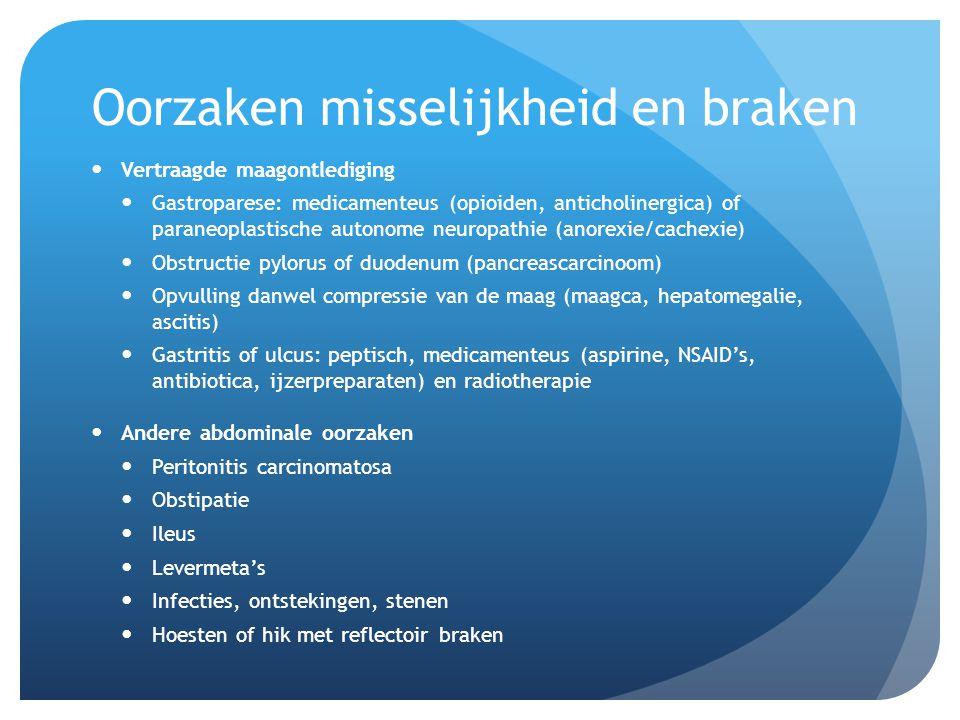 Oorzaken misselijkheid en braken Vertraagde maagontlediging Gastroparese: medicamenteus (opioiden, anticholinergica) of paraneoplastische autonome neu