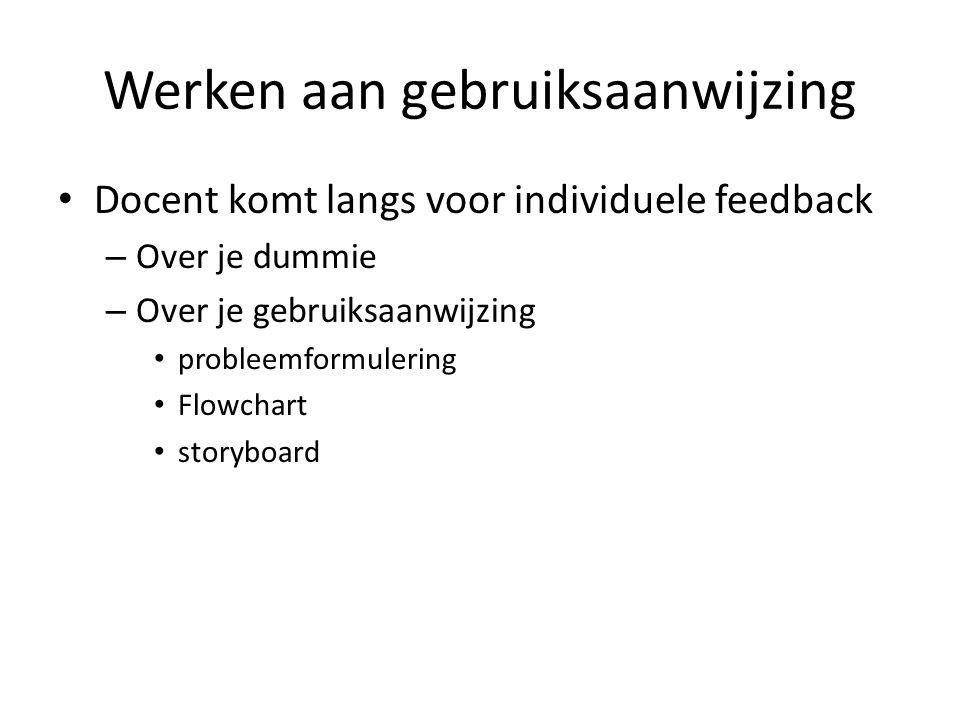 Werken aan gebruiksaanwijzing Docent komt langs voor individuele feedback – Over je dummie – Over je gebruiksaanwijzing probleemformulering Flowchart
