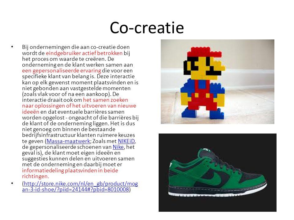 Co-creatie Bij ondernemingen die aan co-creatie doen wordt de eindgebruiker actief betrokken bij het proces om waarde te creëren. De onderneming en de