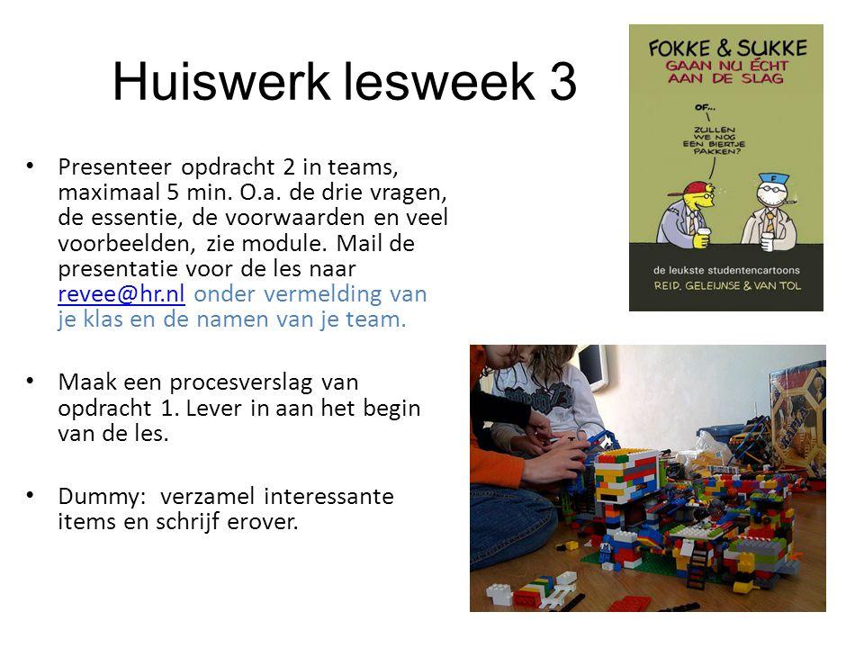 Huiswerk lesweek 3 Presenteer opdracht 2 in teams, maximaal 5 min. O.a. de drie vragen, de essentie, de voorwaarden en veel voorbeelden, zie module. M