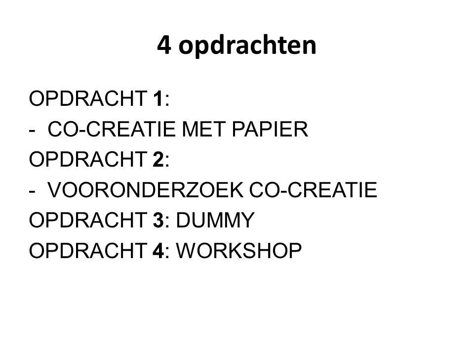 4 opdrachten OPDRACHT 1: - CO-CREATIE MET PAPIER OPDRACHT 2: - VOORONDERZOEK CO-CREATIE OPDRACHT 3: DUMMY OPDRACHT 4: WORKSHOP