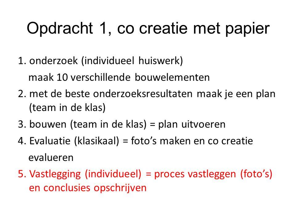 Opdracht 1, co creatie met papier 1. onderzoek (individueel huiswerk) maak 10 verschillende bouwelementen 2. met de beste onderzoeksresultaten maak je