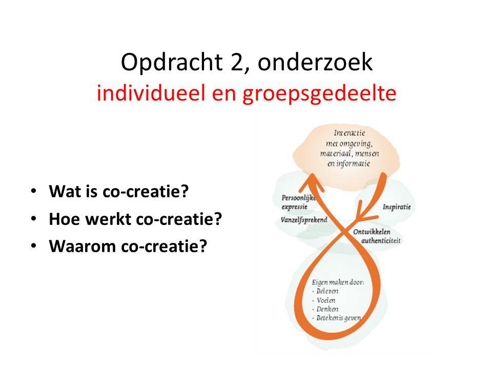 Opdracht 2, onderzoek individueel en groepsgedeelte Wat is co-creatie? Hoe werkt co-creatie? Waarom co-creatie?