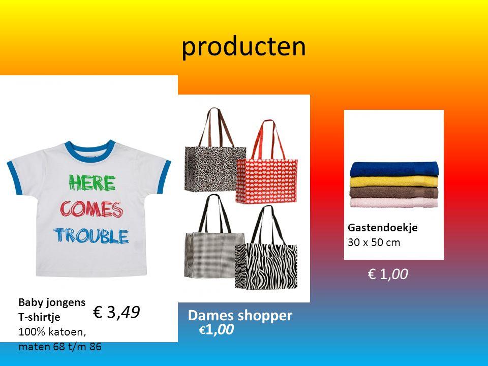 Producten Heren pyjama 100% katoen, maten S t/m XXL € 9,99 Dames hoofddoek 53 x 53 cm, 100% katoen € 0,89 Kinder sneaker sokken maten 23/26 t/m 31/34 set à 3 paar € 1,79