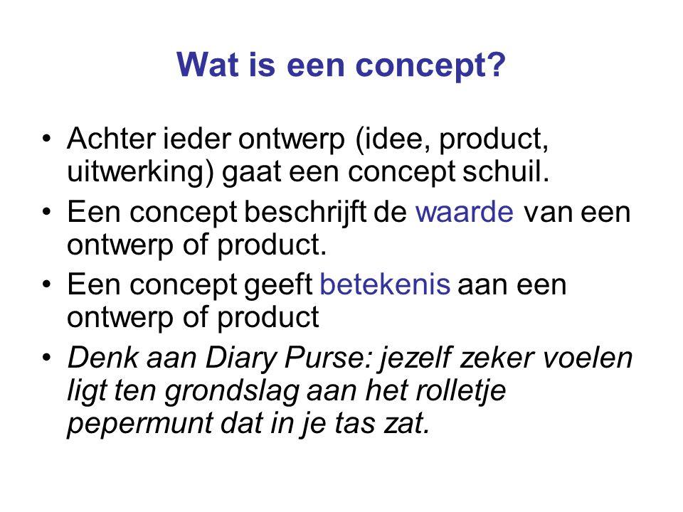 Wat is een concept? Achter ieder ontwerp (idee, product, uitwerking) gaat een concept schuil. Een concept beschrijft de waarde van een ontwerp of prod