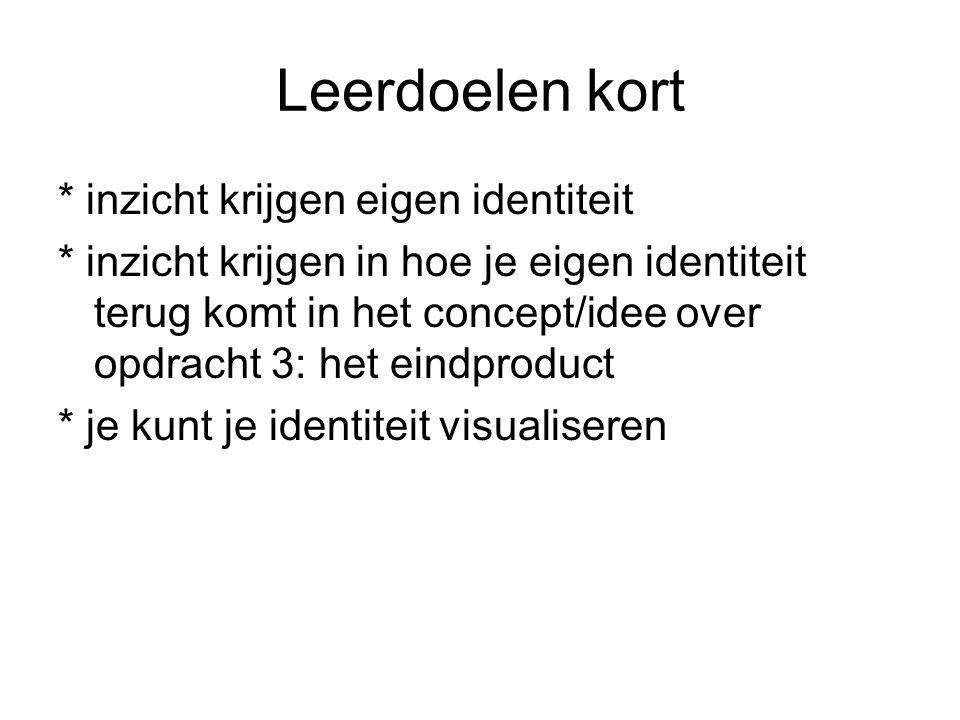 Leerdoelen kort * inzicht krijgen eigen identiteit * inzicht krijgen in hoe je eigen identiteit terug komt in het concept/idee over opdracht 3: het ei