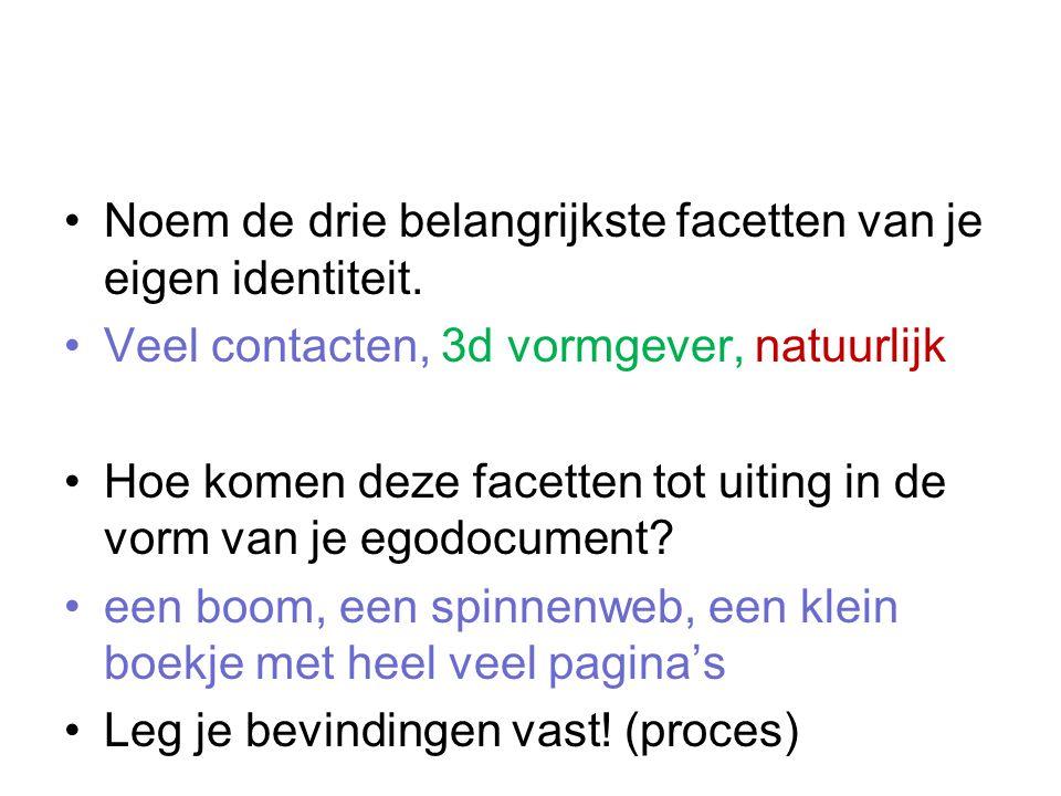http://www.google.nl/search?q=3d+stamboom&rls=com.microsoft:en-US&oe=utf8&redir_esc=&um=1&ie=UTF- 8&hl=en&tbm=isch&source=og&sa=N&tab=wi&biw=1184&bih=833&sei=1WbGTt6VH4PsOabPwcIPhttp://www.google.nl/search?q=3d+stamboom&rls=com.microsoft:en-US&oe=utf8&redir_esc=&um=1&ie=UTF- 8&hl=en&tbm=isch&source=og&sa=N&tab=wi&biw=1184&bih=833&sei=1WbGTt6VH4PsOabPwcIP Mobiel met verschillende facetten uitgewerkt in de onderdelen Een boom maken met als blaadjes de uitgewerkte onderdelen Dik mini boek De wereldbol met verschillende landen die mij n identiteit representeren.