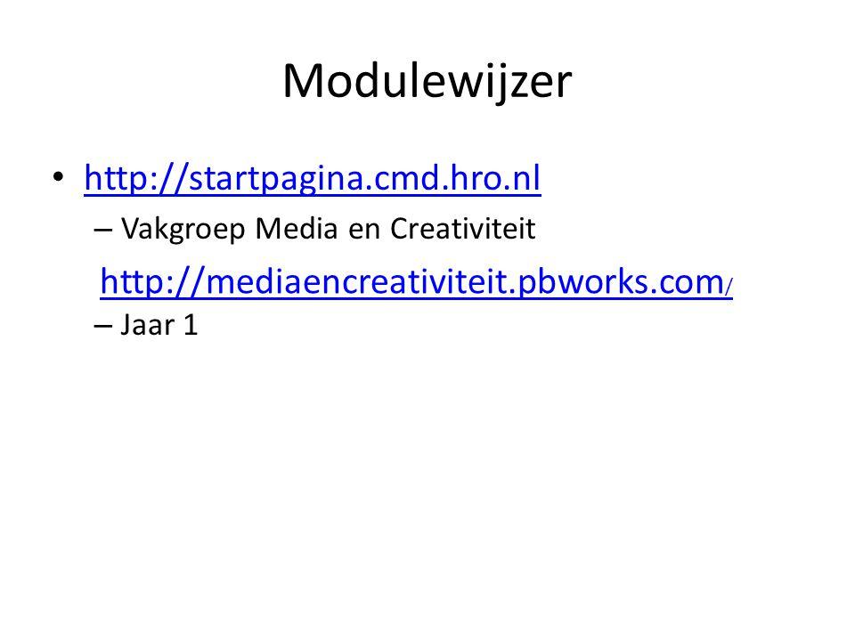 Modulewijzer http://startpagina.cmd.hro.nl – Vakgroep Media en Creativiteit – Jaar 1 http://mediaencreativiteit.pbworks.com /