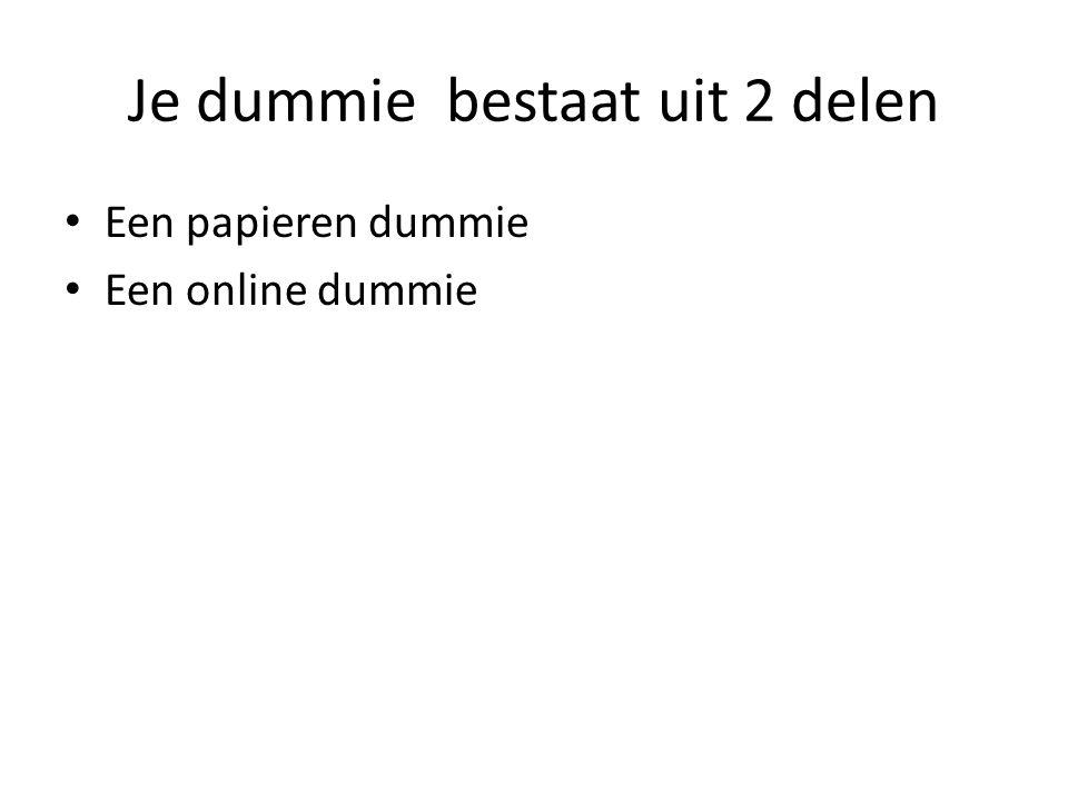 Je dummie bestaat uit 2 delen Een papieren dummie Een online dummie