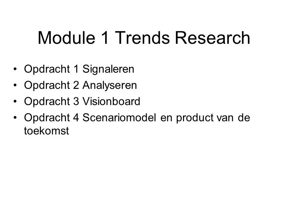 Module 1 Trends Research Opdracht 1 Signaleren Opdracht 2 Analyseren Opdracht 3 Visionboard Opdracht 4 Scenariomodel en product van de toekomst