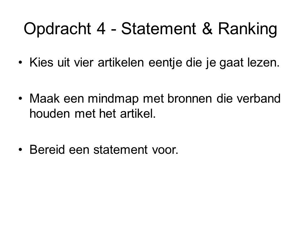 Opdracht 4 - Statement & Ranking Wat heb je gelezen.