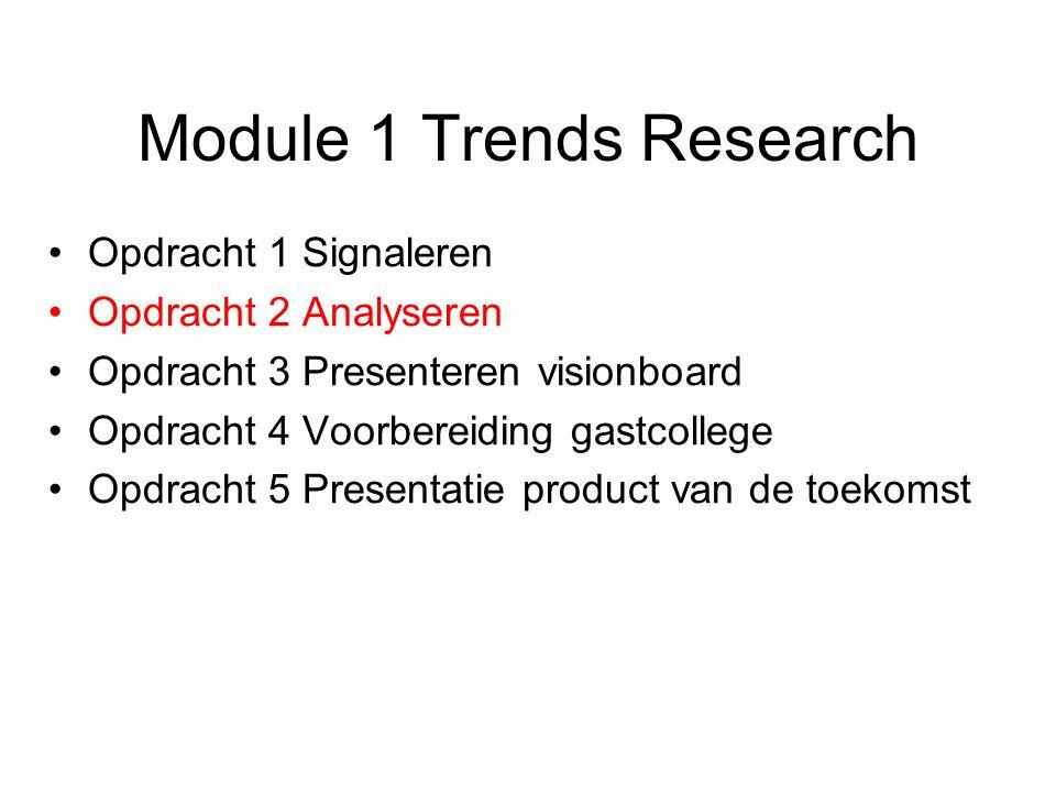 Module 1 Trends Research Opdracht 1 Signaleren Opdracht 2 Analyseren Opdracht 3 Presenteren visionboard Opdracht 4 Voorbereiding gastcollege Opdracht