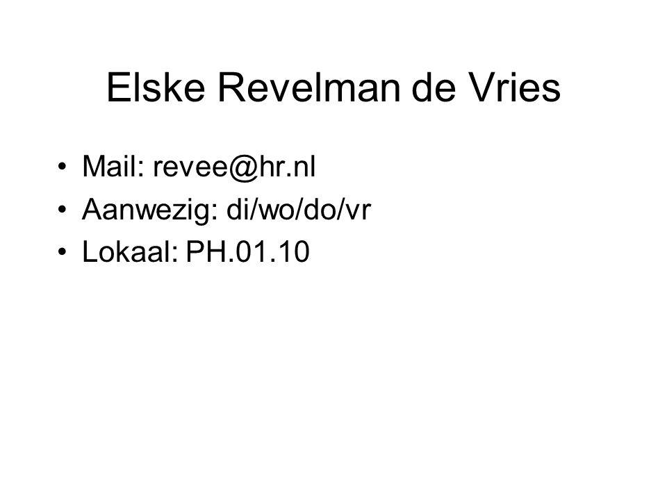 Elske Revelman de Vries Mail: revee@hr.nl Aanwezig: di/wo/do/vr Lokaal: PH.01.10