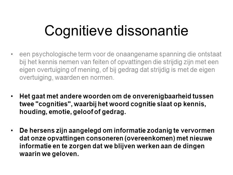 een psychologische term voor de onaangename spanning die ontstaat bij het kennis nemen van feiten of opvattingen die strijdig zijn met een eigen overt